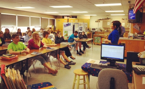 Gina Peterson of Ginger P Designs speaking at JWP High School