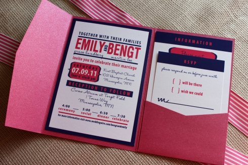 pink and navy blue wedding invitation