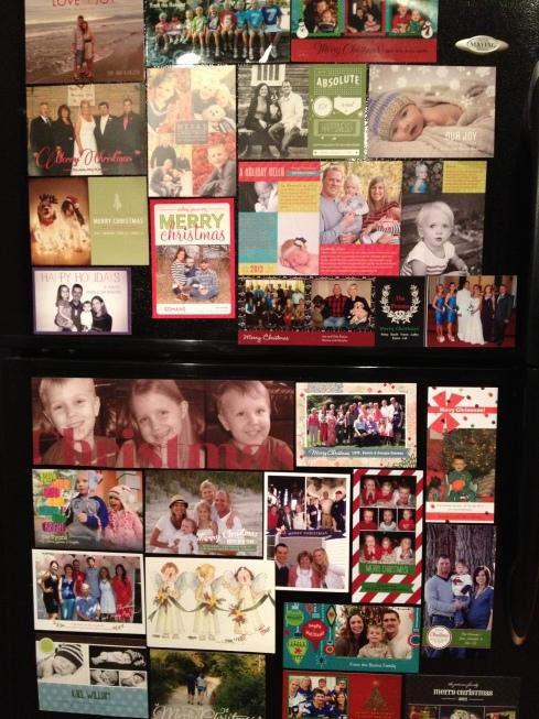 Christmas cards on the fridge