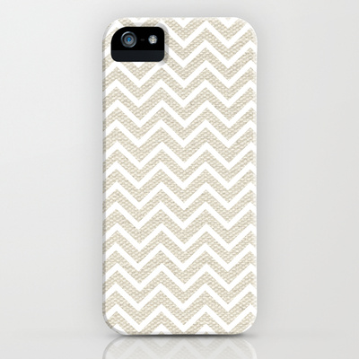 Burlap look with white chevron stripes iphone case