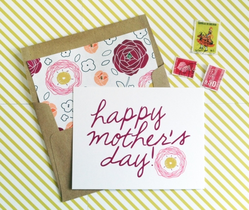 Floral patch Mothers day card