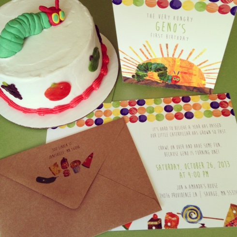 Hungry Catepillar smash cake and invitation